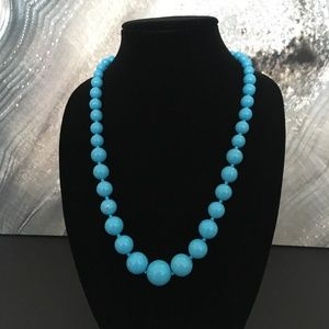 Vintage Turquoise Blue Graduated Bed Necklace